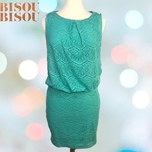 Bisou Bisou Turquoise dress lace overlay size 4